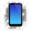 smart phone on design background