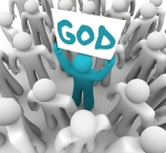 A blue person stands out in a crowd holding a sign with the word God on it, spreading the holy teachings of the church and trying to convert others to a belief or faith